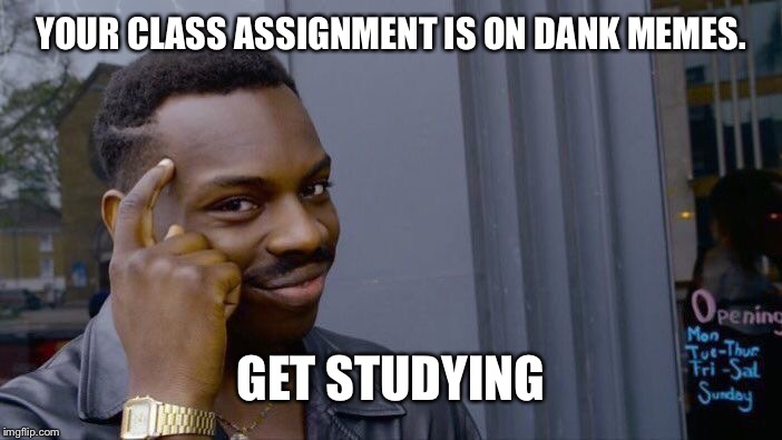 Roll Safe Think About It Meme | YOUR CLASS ASSIGNMENT IS ON DANK MEMES. GET STUDYING | image tagged in memes,roll safe think about it | made w/ Imgflip meme maker