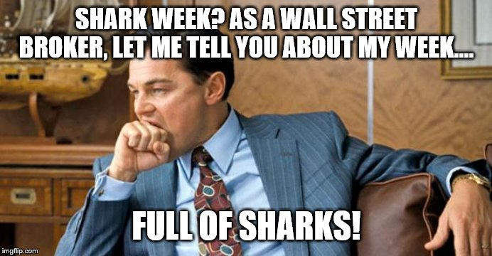 Shark Week on Wall Street |  SHARK WEEK? AS A WALL STREET BROKER, LET ME TELL YOU ABOUT MY WEEK.... FULL OF SHARKS! | image tagged in leonardo biting fist,stocks,shark week,wall street,stock market | made w/ Imgflip meme maker