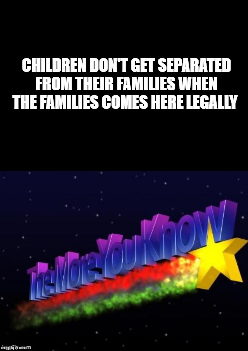 You'd think this would be obvious. | CHILDREN DON'T GET SEPARATED FROM THEIR FAMILIES WHEN THE FAMILIES COMES HERE LEGALLY | image tagged in the more you know,illegal adults should be arrested for child endangerment,keep america great | made w/ Imgflip meme maker