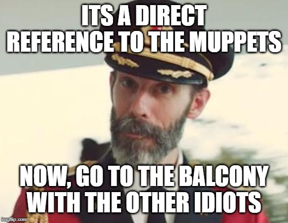ITS A DIRECT REFERENCE TO THE MUPPETS NOW, GO TO THE BALCONY WITH THE OTHER IDIOTS | image tagged in captain obvious | made w/ Imgflip meme maker