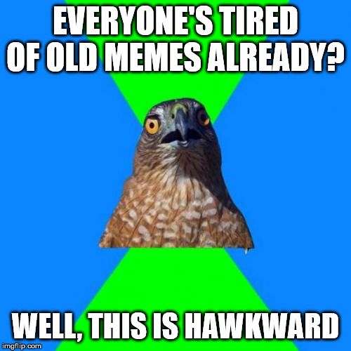 Hawkward | EVERYONE'S TIRED OF OLD MEMES ALREADY? WELL, THIS IS HAWKWARD | image tagged in memes,hawkward | made w/ Imgflip meme maker