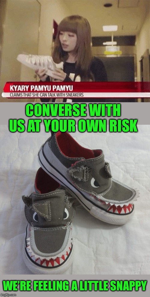 I know most shoes or sneakers have a tongue but come on lady. She must have eaten something laced with drugs. | CONVERSE WITH US AT YOUR OWN RISK WE'RE FEELING A LITTLE SNAPPY | image tagged in crazy lady,deep conversation,sneakers,stranger things,meanwhile in japan,confused dafuq jack sparrow what | made w/ Imgflip meme maker