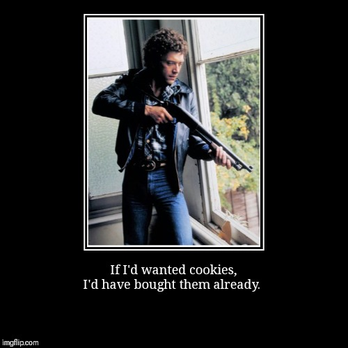If I'd wanted cookies, I'd have bought them already. | image tagged in funny,demotivationals | made w/ Imgflip demotivational maker