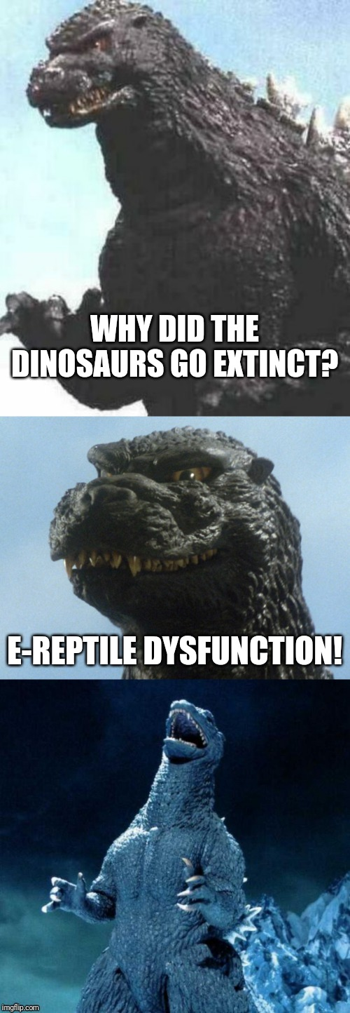 I can't believe there wasn't a Bad Pun Godzilla before now. | WHY DID THE DINOSAURS GO EXTINCT? E-REPTILE DYSFUNCTION! | image tagged in bad pun godzilla,memes,dinosaurs,extinction,erectile dysfunction | made w/ Imgflip meme maker