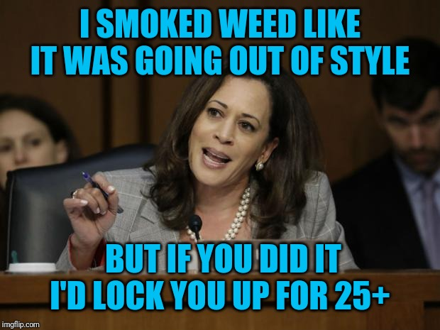 Kamala Harris |  I SMOKED WEED LIKE IT WAS GOING OUT OF STYLE; BUT IF YOU DID IT I'D LOCK YOU UP FOR 25+ | image tagged in kamala harris | made w/ Imgflip meme maker
