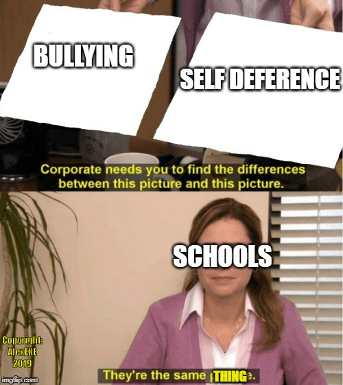Office Same Picture | BULLYING SELF DEFERENCE SCHOOLS THING Copyright: AlexEXE 2019 | image tagged in office same picture | made w/ Imgflip meme maker