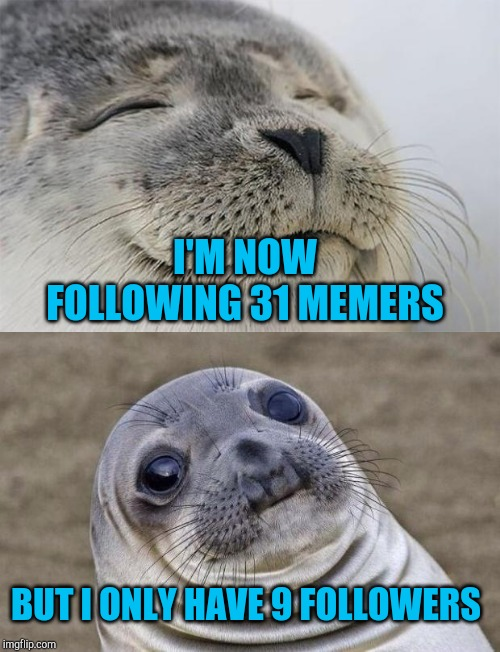 lol Seems I'm more interested than interesting :D |  I'M NOW FOLLOWING 31 MEMERS; BUT I ONLY HAVE 9 FOLLOWERS | image tagged in memes,awkward moment sealion,satisfied seal,followers,jbmemegeek | made w/ Imgflip meme maker