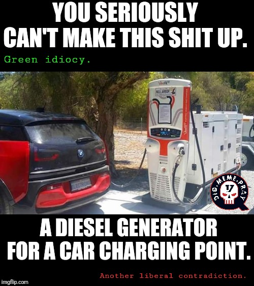 Green idiocy. |  YOU SERIOUSLY CAN'T MAKE THIS SHIT UP. Green idiocy. A DIESEL GENERATOR FOR A CAR CHARGING POINT. Another liberal contradiction. | image tagged in climate change,global warming,communism socialism,earth day,idiocy | made w/ Imgflip meme maker