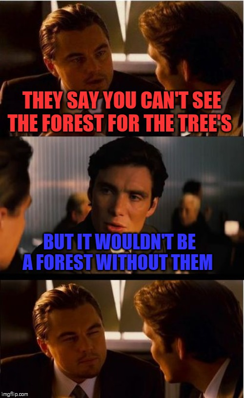 Inception Meme |  THEY SAY YOU CAN'T SEE THE FOREST FOR THE TREE'S; BUT IT WOULDN'T BE A FOREST WITHOUT THEM | image tagged in memes,inception | made w/ Imgflip meme maker
