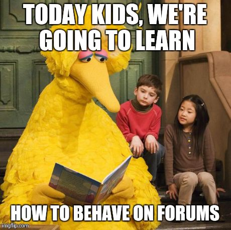 TODAY KIDS, WE'RE GOING TO LEARN HOW TO BEHAVE ON FORUMS | image tagged in funny,forums,big bird | made w/ Imgflip meme maker