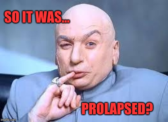 dr evil pinky | SO IT WAS... PROLAPSED? | image tagged in dr evil pinky | made w/ Imgflip meme maker