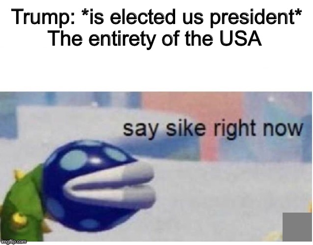 say sike right now | Trump: *is elected us president* The entirety of the USA | image tagged in say sike right now,PoliticalHumor | made w/ Imgflip meme maker