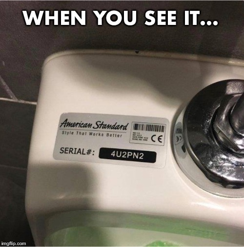 WHEN YOU SEE IT... | image tagged in urinal | made w/ Imgflip meme maker
