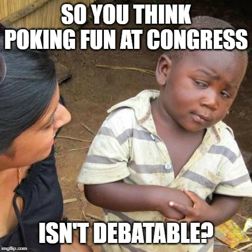 Imgflip Skeptic | SO YOU THINK POKING FUN AT CONGRESS ISN'T DEBATABLE? | image tagged in third world skeptical kid,welcome to imgflip,liberal logic,liberal bias,so true memes,idiocracy | made w/ Imgflip meme maker