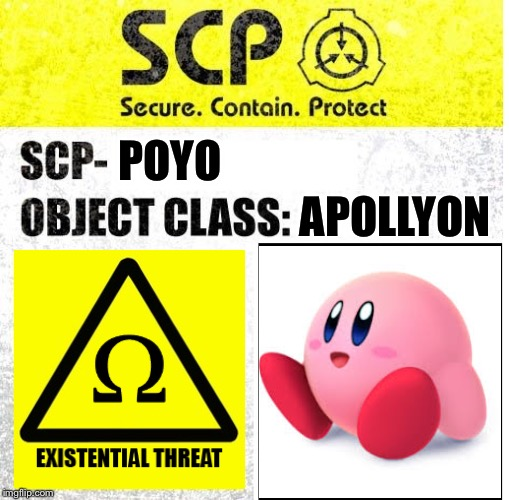 SCP Sign Generator | POYO APOLLYON | image tagged in scp sign generator | made w/ Imgflip meme maker