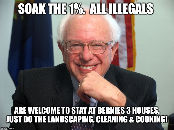 Vote Bernie Sanders | SOAK THE 1%.  ALL ILLEGALS ARE WELCOME TO STAY AT BERNIES 3 HOUSES. JUST DO THE LANDSCAPING, CLEANING & COOKING! | image tagged in vote bernie sanders | made w/ Imgflip meme maker
