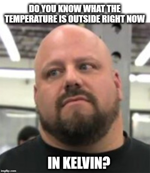 Do you? | DO YOU KNOW WHAT THE TEMPERATURE IS OUTSIDE RIGHT NOW IN KELVIN? | image tagged in do you even lift,science,education,over educated problems,fun,memes | made w/ Imgflip meme maker