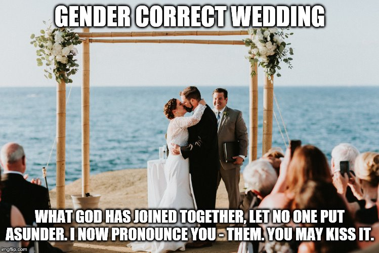 wedding | GENDER CORRECT WEDDING WHAT GOD HAS JOINED TOGETHER, LET NO ONE PUT ASUNDER. I NOW PRONOUNCE YOU - THEM. YOU MAY KISS IT. | image tagged in funny memes | made w/ Imgflip meme maker
