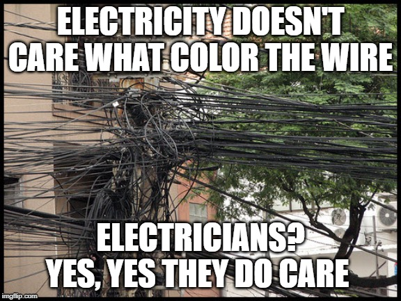 ELECTRICITY DOESN'T CARE WHAT COLOR THE WIRE ELECTRICIANS? YES, YES THEY DO CARE | image tagged in electricity,funny memes | made w/ Imgflip meme maker