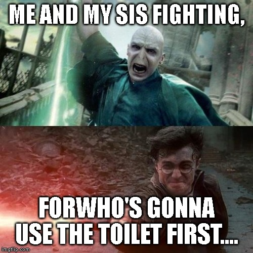 Harry Potter meme | ME AND MY SIS FIGHTING, FORWHO'S GONNA USE THE TOILET FIRST.... | image tagged in harry potter meme | made w/ Imgflip meme maker