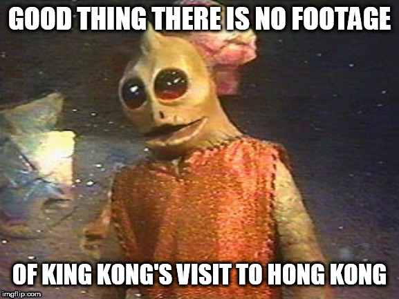 Enik Says | GOOD THING THERE IS NO FOOTAGE OF KING KONG'S VISIT TO HONG KONG | image tagged in enik wisdom,land of the lost,enik | made w/ Imgflip meme maker