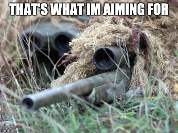 British Sniper Team | THAT'S WHAT IM AIMING FOR | image tagged in british sniper team | made w/ Imgflip meme maker