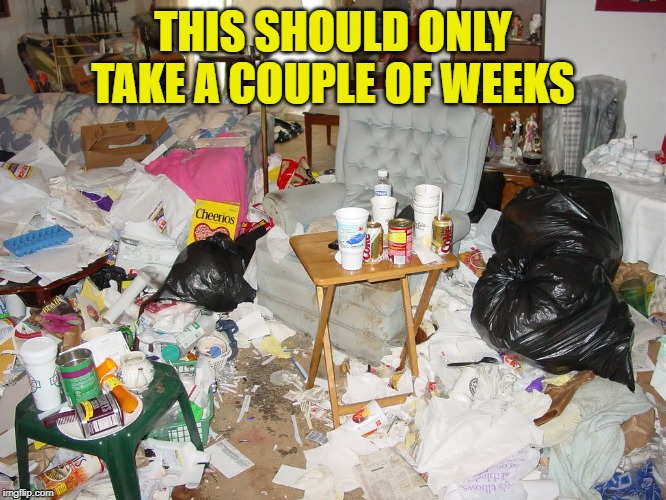 Messy House | THIS SHOULD ONLY TAKE A COUPLE OF WEEKS | image tagged in messy house | made w/ Imgflip meme maker