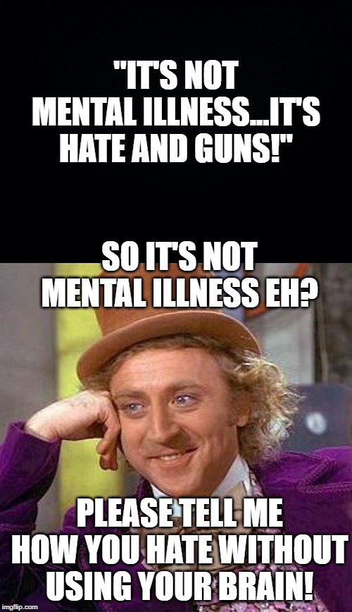 "I Thought Hate was a Disease??? | ""IT'S NOT MENTAL ILLNESS...IT'S HATE AND GUNS!"" SO IT'S NOT MENTAL ILLNESS EH? PLEASE TELL ME HOW YOU HATE WITHOUT USING YOUR BRAIN! 