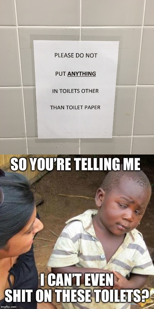 Shit belongs in toilets, not on signs! | image tagged in so you're telling me,third world skeptical kid,seems legit,funny signs,stupid signs week,toilet humor | made w/ Imgflip meme maker