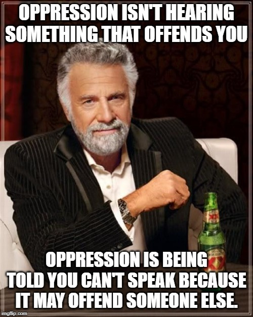 The Most Interesting Man In The World | OPPRESSION ISN'T HEARING SOMETHING THAT OFFENDS YOU OPPRESSION IS BEING TOLD YOU CAN'T SPEAK BECAUSE IT MAY OFFEND SOMEONE ELSE. | image tagged in memes,the most interesting man in the world | made w/ Imgflip meme maker