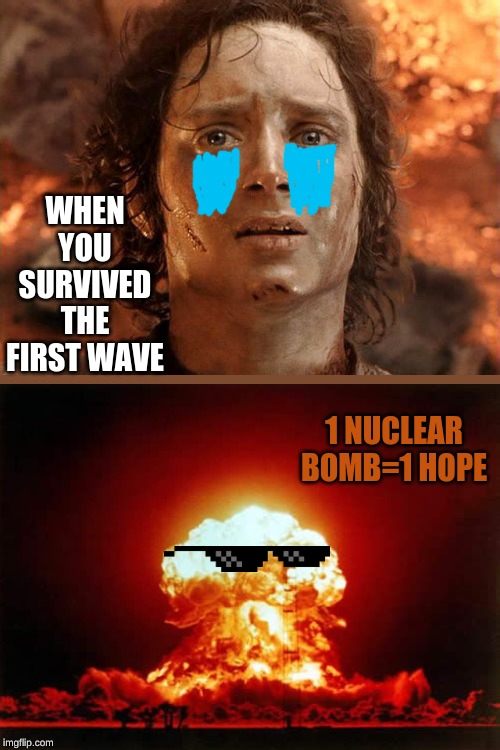 I just wanna go home |  WHEN YOU SURVIVED THE FIRST WAVE; 1 NUCLEAR BOMB=1 HOPE | image tagged in memes,its finally over | made w/ Imgflip meme maker