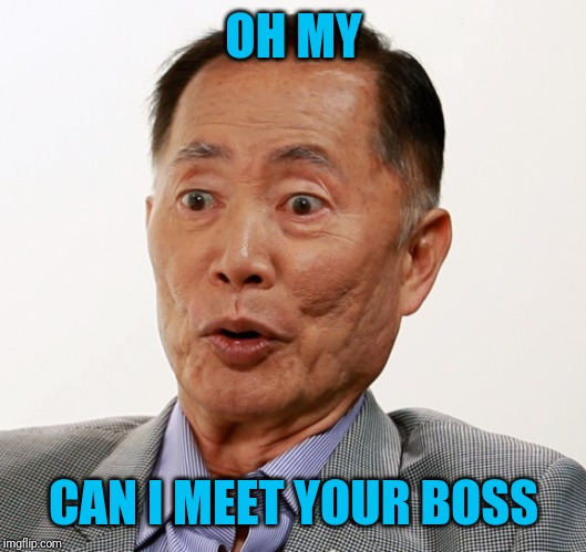 george takei oh my | OH MY CAN I MEET YOUR BOSS | image tagged in george takei oh my | made w/ Imgflip meme maker