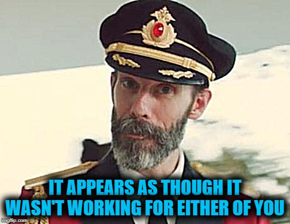Captain Obvious | IT APPEARS AS THOUGH IT WASN'T WORKING FOR EITHER OF YOU | image tagged in captain obvious | made w/ Imgflip meme maker