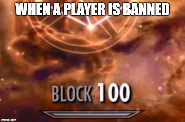 Skyrim Block 100 | WHEN A PLAYER IS BANNED | image tagged in skyrim block 100 | made w/ Imgflip meme maker