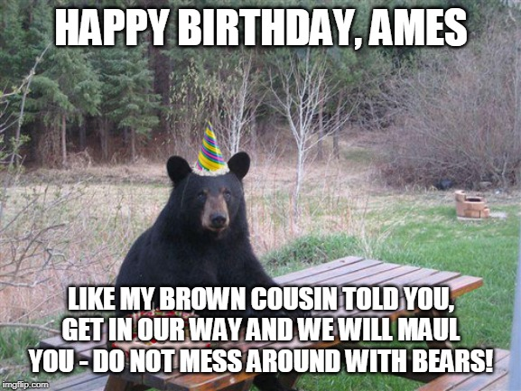 HAPPY BIRTHDAY, AMES LIKE MY BROWN COUSIN TOLD YOU, GET IN OUR WAY AND WE WILL MAUL YOU - DO NOT MESS AROUND WITH BEARS! | image tagged in birthday bear | made w/ Imgflip meme maker