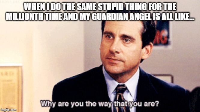 WHEN I DO THE SAME STUPID THING FOR THE MILLIONTH TIME AND MY GUARDIAN ANGEL IS ALL LIKE... | image tagged in why are you the way that you are | made w/ Imgflip meme maker