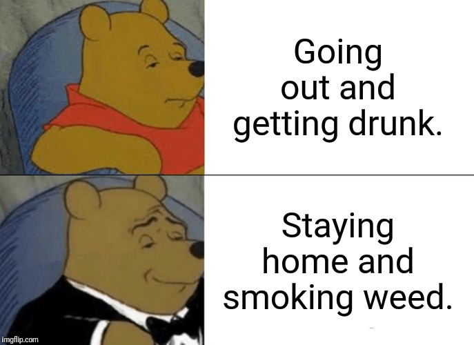 Tuxedo Winnie The Pooh | Going out and getting drunk. Staying home and smoking weed. | image tagged in memes,tuxedo winnie the pooh,smoke weed everyday,legalize weed | made w/ Imgflip meme maker