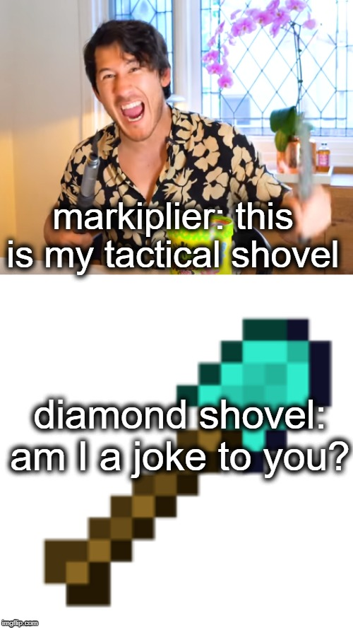 tactical shovel |  markiplier: this is my tactical shovel; diamond shovel: am I a joke to you? | image tagged in minecraft,markiplier,shovel,diamond,Markiplier | made w/ Imgflip meme maker