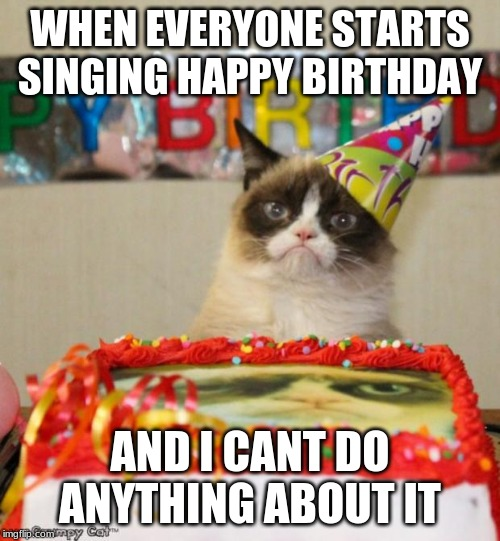 Grumpy Cat Birthday | WHEN EVERYONE STARTS SINGING HAPPY BIRTHDAY AND I CANT DO ANYTHING ABOUT IT | image tagged in memes,grumpy cat birthday,grumpy cat | made w/ Imgflip meme maker