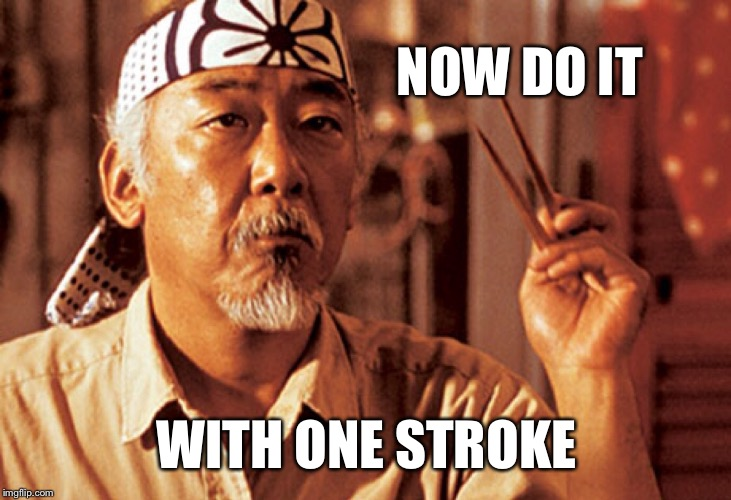 Mr Miyagi | NOW DO IT WITH ONE STROKE | image tagged in mr miyagi | made w/ Imgflip meme maker