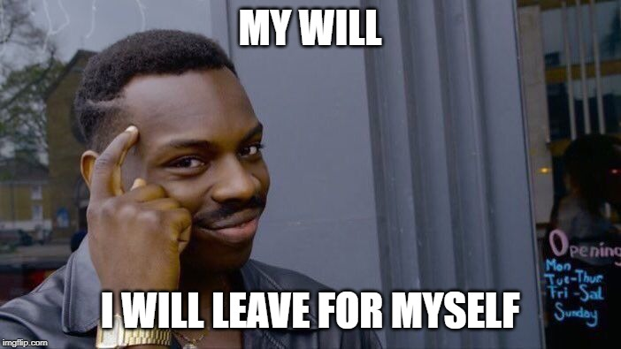 Roll Safe Think About It Meme | MY WILL I WILL LEAVE FOR MYSELF | image tagged in memes,roll safe think about it | made w/ Imgflip meme maker