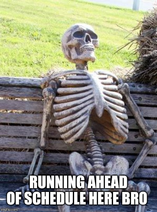 Waiting Skeleton Meme | RUNNING AHEAD OF SCHEDULE HERE BRO | image tagged in memes,waiting skeleton | made w/ Imgflip meme maker