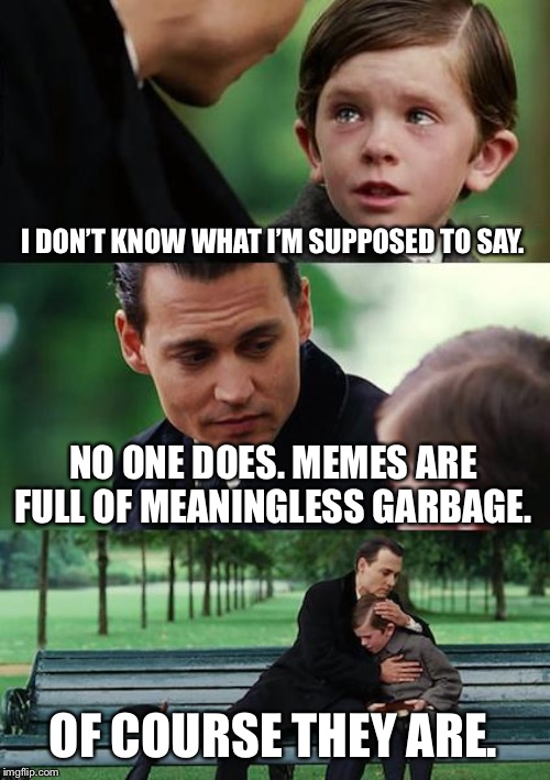 The Truth About Memes: | I DON'T KNOW WHAT I'M SUPPOSED TO SAY. NO ONE DOES. MEMES ARE FULL OF MEANINGLESS GARBAGE. OF COURSE THEY ARE. | image tagged in memes,finding neverland,mocking,garbage,funny,crying | made w/ Imgflip meme maker