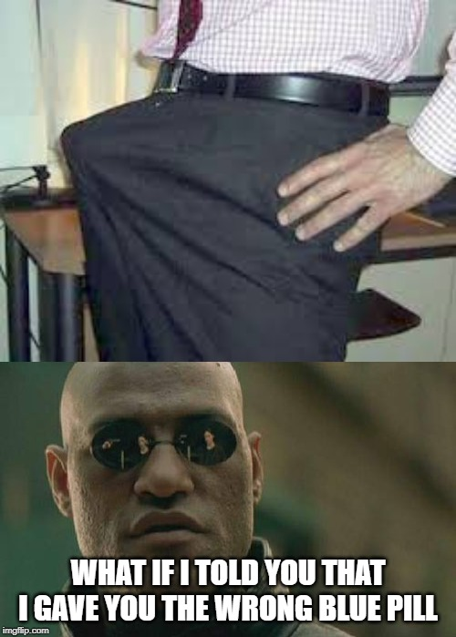 What does the red pill do? | WHAT IF I TOLD YOU THAT I GAVE YOU THE WRONG BLUE PILL | image tagged in memes,matrix morpheus,viagra,funny,funny memes | made w/ Imgflip meme maker