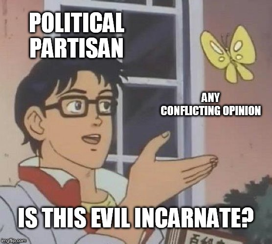 Is This A Pigeon | POLITICAL PARTISAN ANY CONFLICTING OPINION IS THIS EVIL INCARNATE? | image tagged in memes,is this a pigeon | made w/ Imgflip meme maker