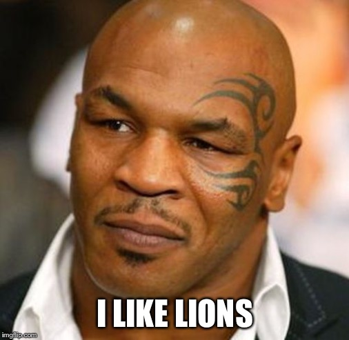 Disappointed Tyson Meme | I LIKE LIONS | image tagged in memes,disappointed tyson | made w/ Imgflip meme maker