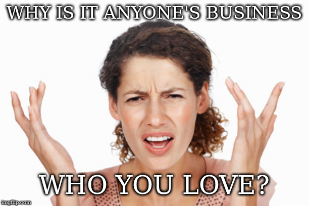 Indignant | WHY IS IT ANYONE'S BUSINESS WHO YOU LOVE? | image tagged in indignant | made w/ Imgflip meme maker