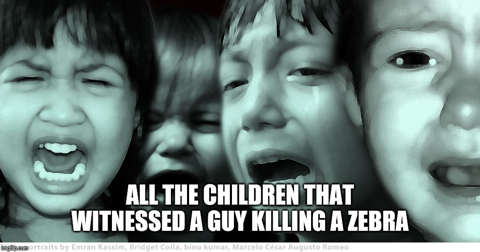 crying children | ALL THE CHILDREN THAT WITNESSED A GUY KILLING A ZEBRA | image tagged in crying children | made w/ Imgflip meme maker