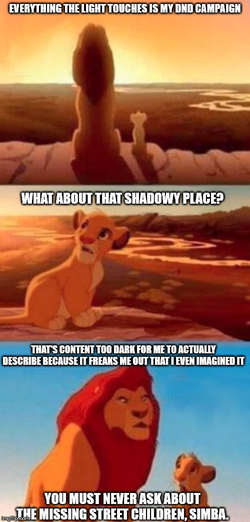 Dungeon Master Problems Part 1 | EVERYTHING THE LIGHT TOUCHES IS MY DND CAMPAIGN WHAT ABOUT THAT SHADOWY PLACE? THAT'S CONTENT TOO DARK FOR ME TO ACTUALLY DESCRIBE BECAUSE I | image tagged in everything the light touches,simba shadowy place,dungeons and dragons,dnd,lion king | made w/ Imgflip meme maker