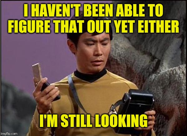 gaydar sulu star trek | I HAVEN'T BEEN ABLE TO FIGURE THAT OUT YET EITHER I'M STILL LOOKING | image tagged in gaydar sulu star trek | made w/ Imgflip meme maker